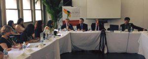 Mesa com agentes do Estado contou com Desembargadores da Justiça do Trabalho do Brasil e de Portugal, do Conselho Nacional do Ministério Público e do Secretário da Reforma da Justiça, Marcelo Veiga.